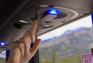 Reading lights, air controls, blue accent lighting