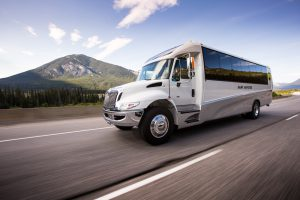 luxury bus, banff to calgary, bus